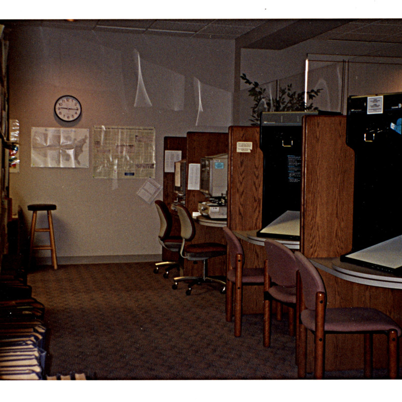 Photograph of Microfilm area in genealogy and local history department.