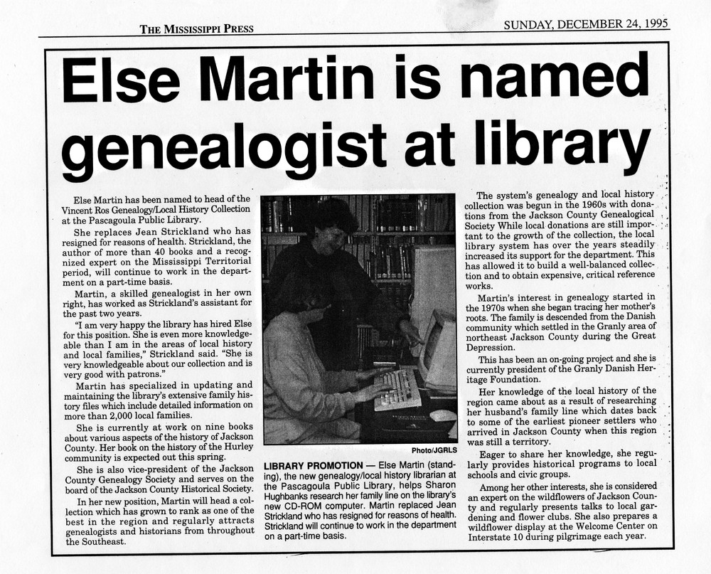 Else Martin is Named Genealogist at Library.
