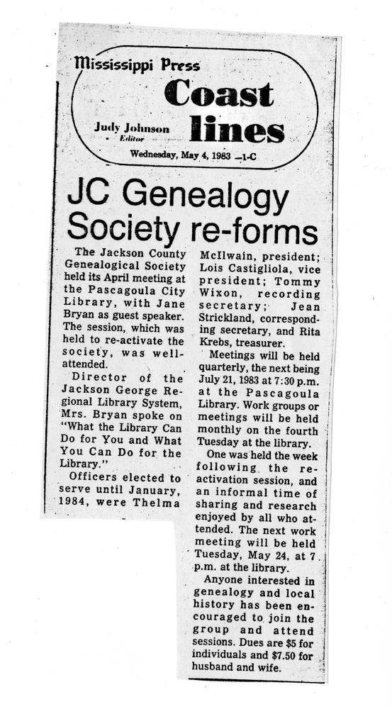 JC Genealogy Society Re-forms